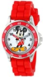 Disney Kids' MK1239 Time Teacher Mickey Mouse Round Watch with Red Rubber Strap