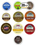 20-count Single Serve Brewer Cups for Keurig Compatible Brewers Cocoa Chocolate and Cider Variety Pack 10 Different Flavors Featuring Green Mountain Apple Cider, Grove Square Caramel Apple Cider, Grove Square Spiced Apple Cider, Cafe Escapes Milk Chocolate, Cafe Escapes Dark Chocolate, Swiss Miss Hot Cocoa, Grove Square Milk Chocolate, Grove Square Dark Chocolate, Grove Square Salted Caramel Cocoa, and Timothys White Hot Chocolate Cups