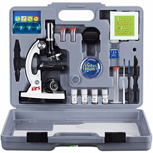 AMSCOPE-KIDS M30-ABS-KT2-W Microscope Kit with Metal Arm and Base, 6 Magnifications from 20x to 1200x, Includes 52-Piece Accessory Set and Case, Awarded The 2016 Top Pick of Microscopes For Beginners (Kids 10 Years Old compare prices)