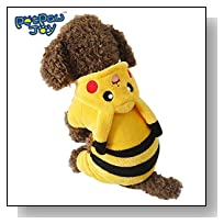 PETPAWJOY DOG COSTUME #1 CUTE PIKACHU DOG COSTUME Hoodie Dog Costume Yellow Warm Soft Coral Fleece Winter Dog Costume - Make Your Dog Special / Cute like a PIKACHU in Everyday life and in Halloween