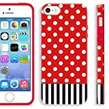 Akna Glamour Series Flexible TPU Soft Back Case for iPhone 5 5S [Red Polka Dots I Stripe]