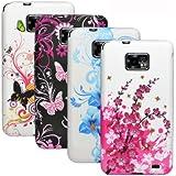 zkiosk Silikon Schutzhüllen Set (4er Pack) für Samsung Galaxy S2 i9100 Design Auswahl 1 Schmetterling Blumen pink/lila/blau/weiß/schwarz