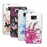 zkiosk 344 Pack de 4 Coques en silicone pour Samsung Galaxy S2 I9100 Motif Papillon fleur cercles cerisiers en fleurs d'abeilles Rose/Violet/Bleu/Blanc/Noir