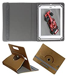 Acm Designer Rotating 360° Leather Flip Case For Xolo Qc800 Tablet Stand Premium Cover Golden
