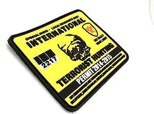 Permis de Chasse de Terroristes Internationaux PVC Grand Airsoft Velcro Patch