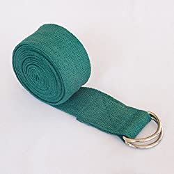 HealthAndYoga Straps Superior Non-stretch Cotton Twill with Metal D-rings Buckle, 6' and 8' Length