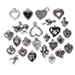 25pcs Alloy Various Heart Shapes Pend...