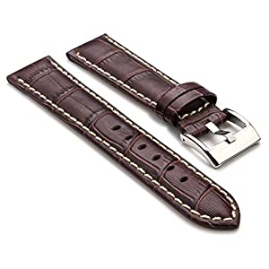 StrapsCo Premium Dark Brown Croc Embossed Leather Watch Strap size 22mm