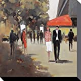 Posters: Paris Stretched Canvas Print - Street Life In Front Of The Café De La Paix, Jon Barker (24 x 24 inches)