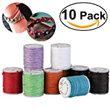 Tinksky 10pcs 10M 1MM Waxed Cotton Cords Strings Ropes for DIY Necklace Bracelet Beading Jewelry Craft Making (Random Color) (Color: As Shown)
