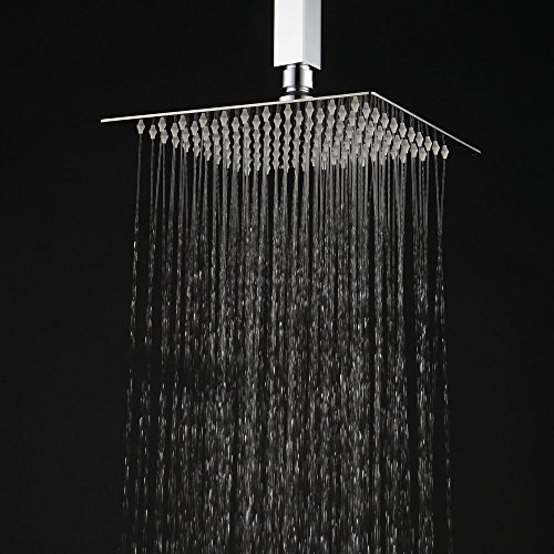 Hiendure 12-inch High Pressure Ultra Thin 304 Stainless Steel Square Rain Shower Head, Chrome (Shower Head Square compare prices)