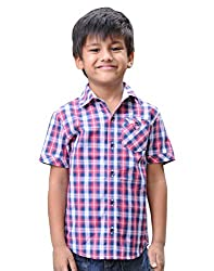 Snowflakes Boys' 5 - 6 Years Cotton Casual Shirt (Red with Blue)