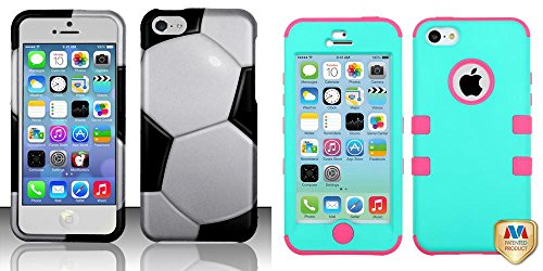 Combo Pack For Iphone 5C - Rubberized Design Cover - Soccer Ball And Mybat Rubberized Teal Green/Electric Pink Tuff Hybrid Phone Protector Cover For Apple Iphone 5C
