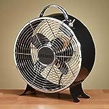 """12.5"""" Deep Ebony Black Vintage Style Metal Table Fan"""