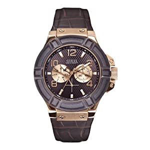 GUESS Men's W0040G3 Rigor Standout Multi-Function Dressy Sport Watch with Genuine Leather Brown Strap & Dial & Rose Gold-Tone Case