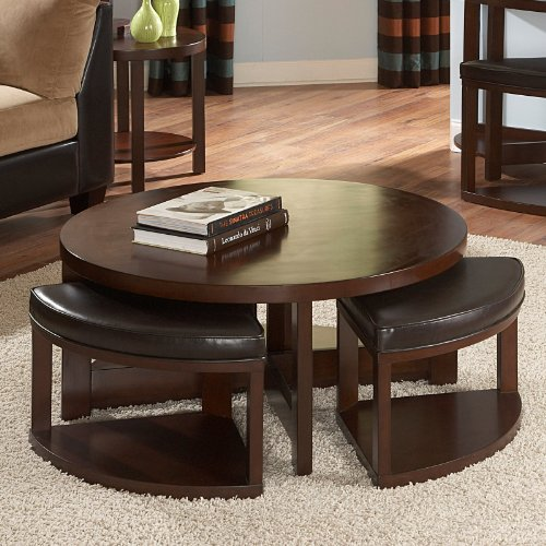 Homelegance Brussel II Round Brown Cherry Wood Coffee Table with 4 Ottomans Size - 40