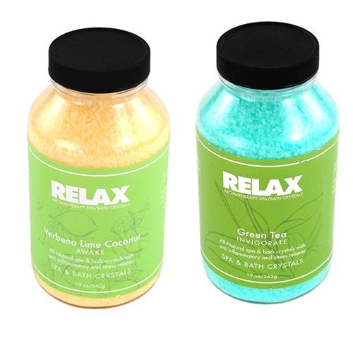 Green Tea & Verbena Lime Coconut Hottub Aroma Therapy Crystals -22 Oz- Natural Fragrances, Minerals, & Salts For Bath, Spa