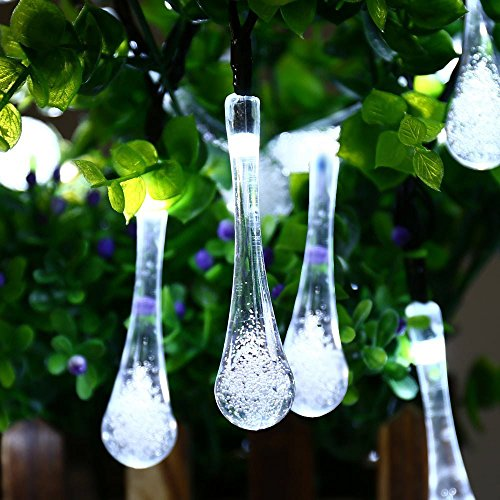 Dephen Solar Outdoor String Lights, 19.7ft 30 LED Water Drop Solar Powered Fairy Christmas Waterproof String lights for Garden, Lawn, Patio, Weeding,Party,Home Decoration(White)