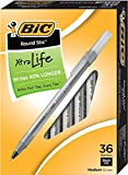 BIC Round Stic Xtra Life Ball Pen, Medium Point (1.0 mm), Black, 36-Count