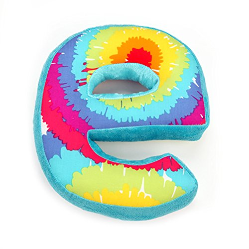 "One Grace Place Terrific Tie Dye Letter Pillow ""E"", Aqua Blue, Royal Blue, Purple, Yellow, Green, Orange, Pink, Red And White front-160401"