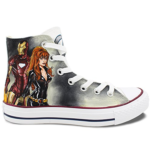 Superheros Converse Hand Painted Shoes Iron Man Black Widow Superman Wonder Woman Canvas Sneaker