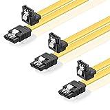 SET - 3x deleyCON [0,5m] S-ATA 3 Kabel - PREMIUM SATA 3 HDD / SSD Datenkabel mit Clip - 1x Stecker gerade zu 1x Stecker 90° - Übertragungsraten bis zu 6 GBit/s - flexibles PREMIUM S-ATA 3 Kabel - schnelle und sichere Datenübertragung - passgenaue, stabile Stecker mit Verriegelung - abwärtskompatibel - Länge: 50cm / Farbe: Gelb