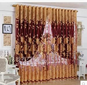 European style new design red tulle curtain blackout shade curtains for living room - Amazon curtains living room ...