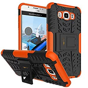 Heartly Tough Hybrid Flip Kick Stand Spider Hard Dual Shock Proof Rugged Armor Bumper Back Case Cover For Samsung Galaxy On8 - Mobile Orange