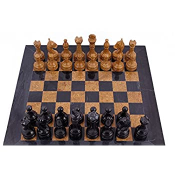 RADICAL 16 Inches Handmade Black and Golden Original Hand Crafted Marble Full Chess Game Set
