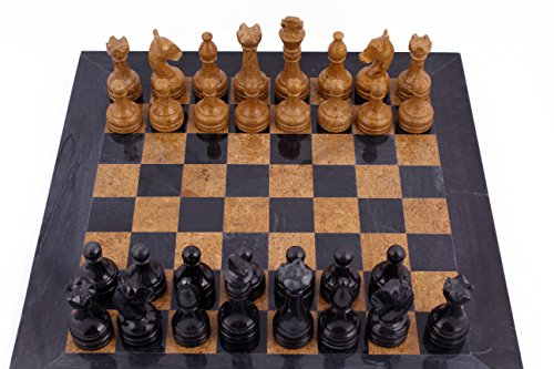 RADICAL 16 Inches Handmade Black and Golden Original Hand Crafted Marble Full Chess Game Set 1