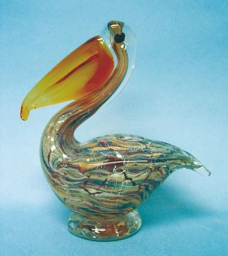 Glass Pelican with Amber Beak