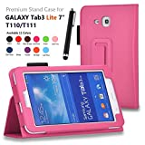 "Image of onWay(TM) Premium Premium Folio Leather Case Cover for Samsung Galaxy Tab 3 Lite 7.0 SM-T110 / T111 7.0 Inch Android Tablet + Gift: free stylus touch pen X 1 (Hot Pink, Tab 3 Lite 7.0"")"