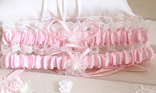 Rimobul Lace Wedding Garters with Toss Away - Set of 2 (Pink)