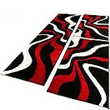 Bettumrandung Läufer Teppich Muster Modern Rot Schwarz Weiss Läuferset 3 Tlg., Grösse:2mal 80×150 1mal 80×300