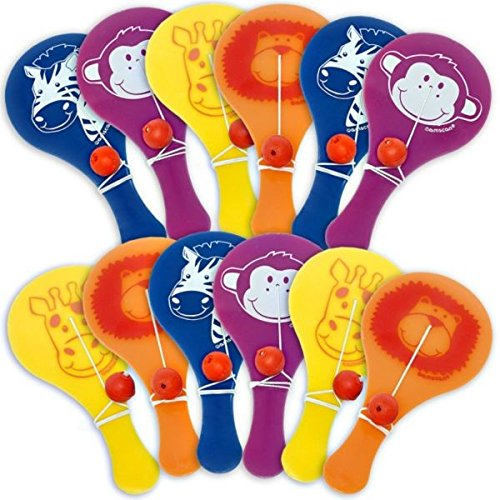 Amscan Colorful Jungle Animals Birthday Party Paddle Balls, 2-1/8 x 4-1/2