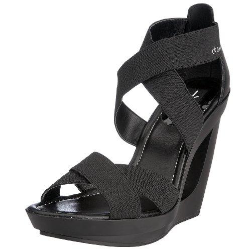 Calvin Klein - Sandalias de material sintético mujer, Negro, 39