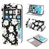 TUTUWEN View Window Painting Art White Flowers Style Design PU Leather Flip Stand Case Cover for Apple iPhone 6 Plus 55 inches