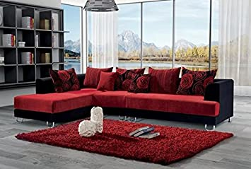 Divano salotto angolare in tessuto rosso