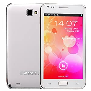 N8000 Android 4.0 MTK6575 1.0GHz Dual SIM Quadband 5.0-inch Capacitive Screen 3G Smartphone with WiFi GPS TV (White)