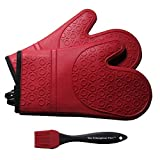 Silicone Oven Mitts, 1 Pair (2 x Dark Red Mitt), Deluxe Quilted Liner, Bonus Brush