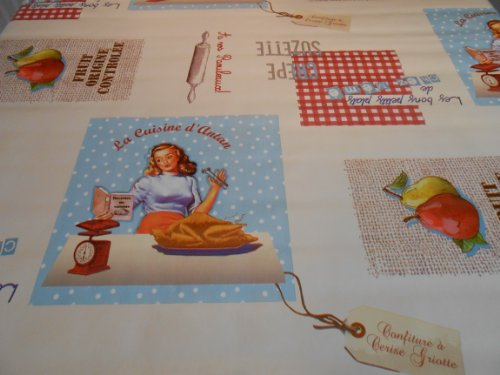 200 CM X 137CM (2 METRES) TABLE CLOTH FRENCH RETRO KITCHEN DESIGN WIPE CLEAN VINYL / PVC TABLECLOTH