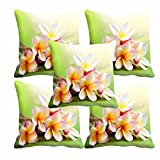 meSleep White Flower Cushion Cover(16 x 16) Set of 5