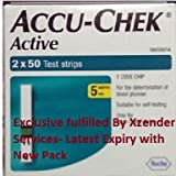 New 100 Test Strips Accu Chek Active Blood Sugar Glucose Monitor Meter Machine2*50 Expiry- Aug'15 To Oct-15