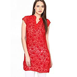 Fashion Bucket red colored faux georgette kurti.