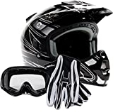 Adult Offroad Helmet Goggles Gloves Gear Combo DOT Motocross ATV Dirt Bike MX Black ( M Medium )
