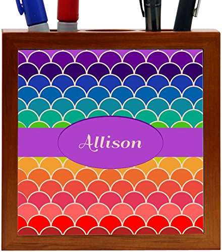 Rikki Knight Allison Name on Rainbow Scallop Design 5-Inch Tile Wooden Tile Pen Holder (RK-PH45540)