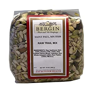 Bergin Nut Company Trail Mix Raw, 16-Ounce Bags (Pack of 4) by Bergin Nut Company