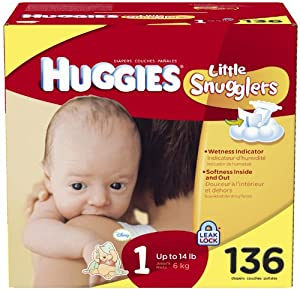 Huggies Little Snugglers Original Diapers - Size 1 - 136 ct