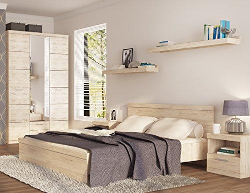 Schlafzimmer komplett mit Kleiderschrank 135cm 6862 Doppelbett eiche san remo