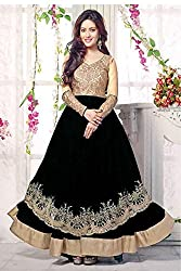 Bollywood Riya Sen Net Party Wear Anarkali Suit in Black Colour